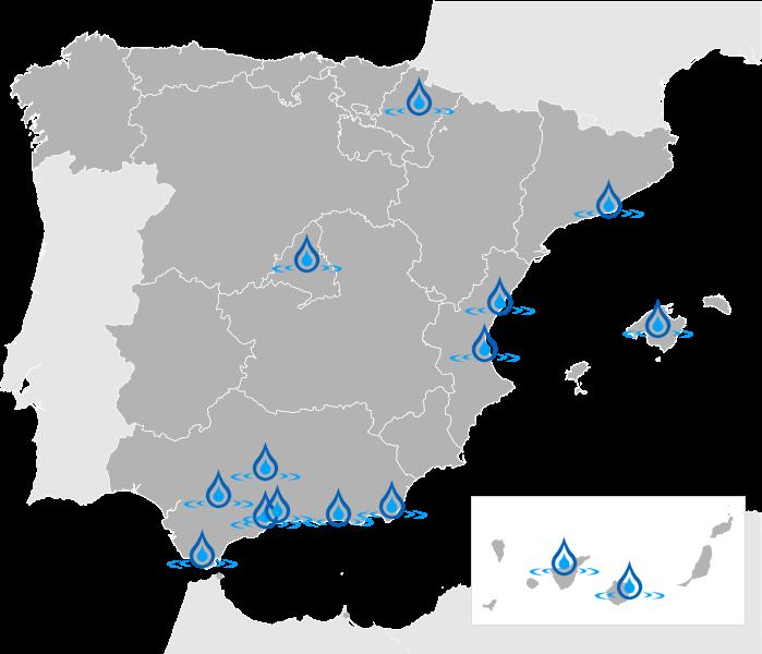 Mapa de España AquaClub 2017
